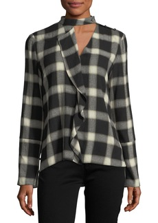 Derek Lam 10 Crosby Long-Sleeve Wool-Blend Grid-Print Blouse w/ Cascade Ruffle