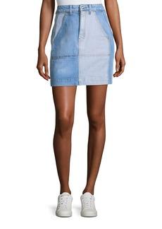 Derek Lam 10 Crosby Lyla High-Rise A-Line Two-Tone Denim Skirt