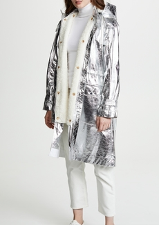 Derek Lam 10 Crosby Metallic Anorak with Sherpa Lining
