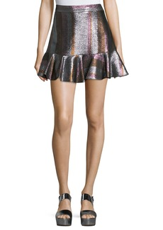 Derek Lam 10 Crosby Metallic Ruffle-Hem Flounce Skirt