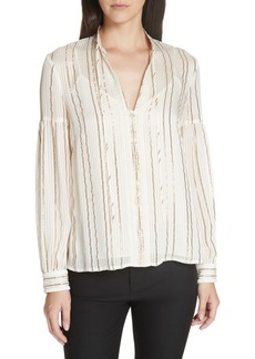 Derek Lam 10 Crosby Metallic Stripe Silk Blouse