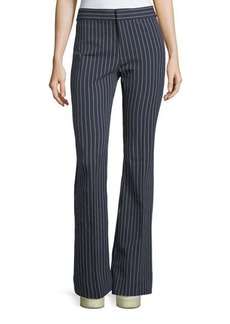 Derek Lam 10 Crosby Mid-Rise Striped Flare Cotton-Stretch Trouser