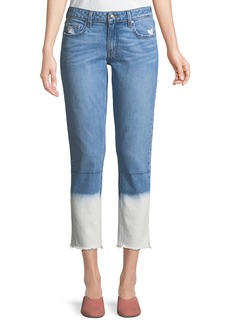 Derek Lam Mila Mid-Rise Straight-Leg Ankle Jeans with Bleached Hem
