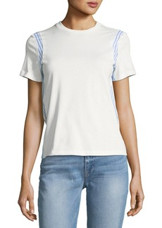 Derek Lam 10 Crosby Mixed-Media Crewneck Short-Sleeve Cotton Tee