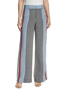 Derek Lam 10 Crosby Mixed-Print Silk Wide-Leg Trousers