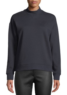 Derek Lam 10 Crosby Mock-Neck Cotton Pullover Sweatshirt