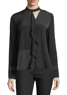Derek Lam 10 Crosby Mock-Neckline Long-Sleeve Beaded Pleated Silk Blouse