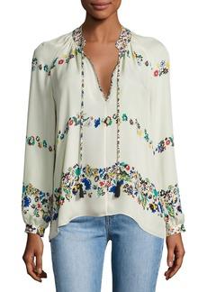 Derek Lam 10 Crosby Nehru Long-Sleeve Floral Silk Blouse