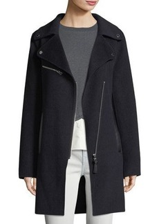 Derek Lam 10 Crosby Notched-Collar Zip-Front Wool-Blend Coat