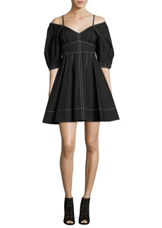 Derek Lam 10 Crosby Off-the-Shoulder Cotton Dress