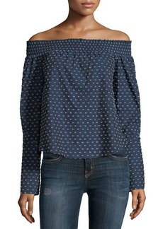Derek Lam 10 Crosby Off-the-Shoulder Dot-Print Blouse