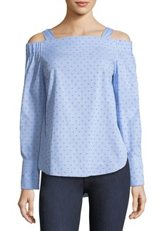 Derek Lam Off-the-Shoulder Dotted Cotton Dobby Shirt