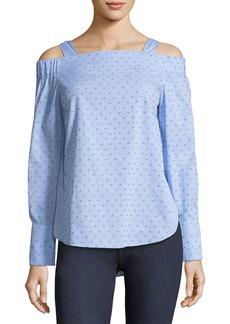 Derek Lam Off-the-Shoulder Dotted Cotton Dobby Shirt