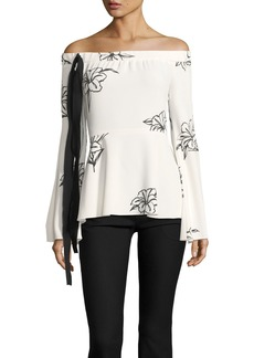 Derek Lam 10 Crosby Off-the-Shoulder Floral-Print Top
