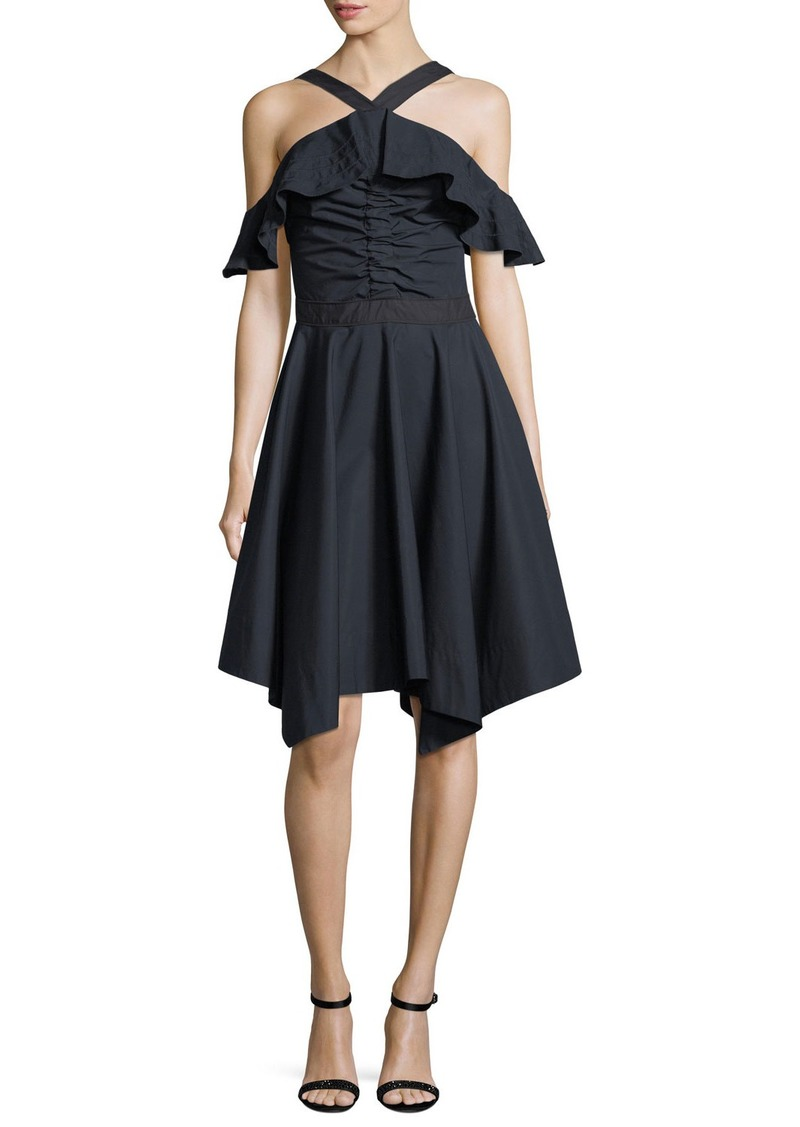 Derek Lam 10 Crosby Off-the-Shoulder Halter Poplin Dress