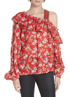 Derek Lam 10 Crosby One-Shoulder Floral Blouse