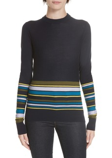 Derek Lam 10 Crosby Partial Stripe Sweater