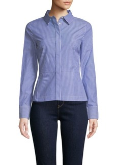 Derek Lam Peplum Lace-Back Collared Shirt