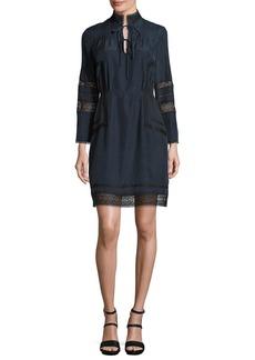 Derek Lam 10 Crosby Pintucked Silk Lace-Trim Dress