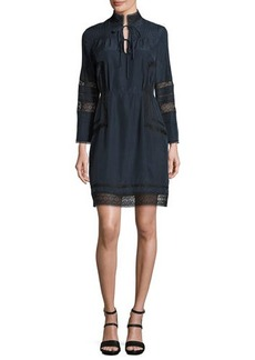 Derek Lam 10 Crosby Pintucked Silk Lace-Trim Dress