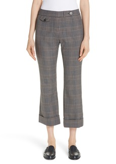 Derek Lam 10 Crosby Plaid Crop Flare Pants