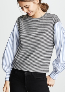 Derek Lam 10 Crosby Plaid Sweatshirt With Shirting Sleeves