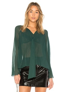 DEREK LAM 10 CROSBY Pleated Blouse in Green. - size 0 (also in 2,4,6,8)