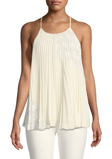 Derek Lam Pleated Camisole Blouse with Lace