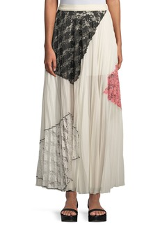 Derek Lam Pleated Midi Skirt with Lace Inserts