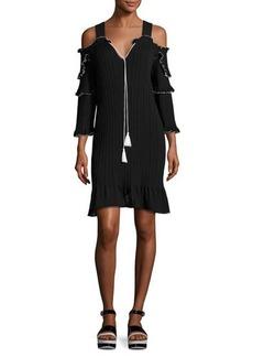 Derek Lam 10 Crosby Plissé Cold-Shoulder Mini Dress