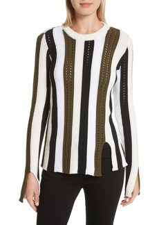Derek Lam 10 Crosby Pointelle Stripe Sweater
