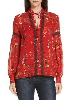 Derek Lam 10 Crosby Print Lace Trim Silk Blouse