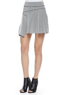 Derek Lam 10 Crosby Printed Flared Skirt W/ Side Ruffle