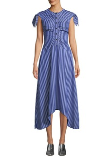 Derek Lam 10 Crosby Ruched-Bodice Striped Asymmetric Midi Dress