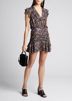 Derek Lam 10 Crosby Ruched Floral Flounce Mini Skirt