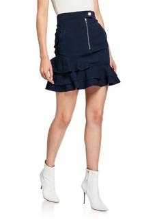 Derek Lam 10 Crosby Ruffle-Hem Zip-Front Mini Skirt