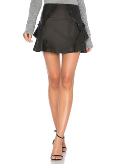 DEREK LAM 10 CROSBY Ruffle Leather Mini Skirt in Black. - size 0 (also in 2,4,6)