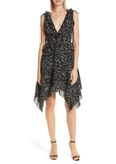 Derek Lam 10 Crosby Ruffle Trim Handkerchief Hem Silk Dress