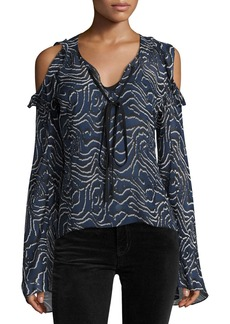 Derek Lam 10 Crosby Ruffled Cold-Shoulder Chiffon Blouse