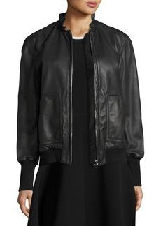 Derek Lam 10 Crosby Ruffled Collar Leather Bomber Jacket