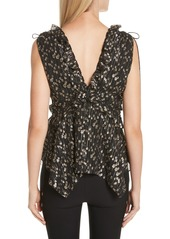Derek Lam 10 Crosby Ruffled Metallic Dot Top