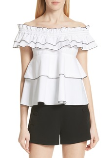 Derek Lam 10 Crosby Ruffled Off the Shoulder Top