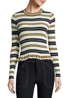 Derek Lam Ruffled Striped Rib-Knit Sweater