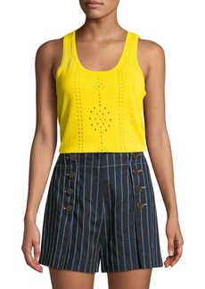 Derek Lam 10 Crosby Scoop-Neck Sleeveless Pointelle Knit Cotton Tank