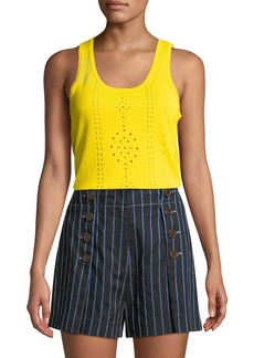 Derek Lam Scoop-Neck Sleeveless Pointelle Knit Cotton Tank