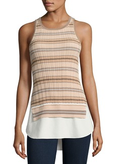 Derek Lam 10 Crosby Sheer Striped Combo Tunic Tank