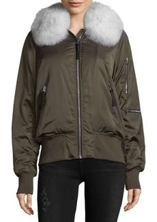 Derek Lam 10 Crosby Short Satin Ruched Fur Collar Bomber Jacket
