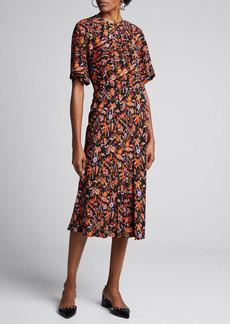 Derek Lam 10 Crosby Short-Sleeve Paisley-Print Midi Dress