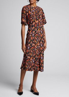 Derek Lam 10 Crosby Short-Sleeve Paisley-Print Midi Dress
