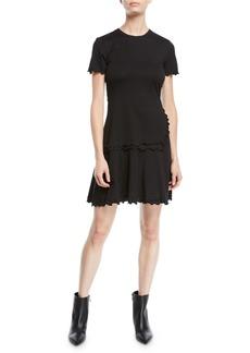Derek Lam 10 Crosby Short-Sleeve Ruffle Crewneck Tee Dress